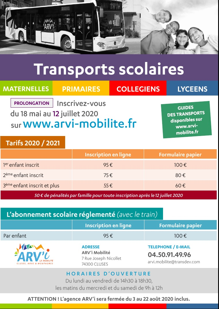 Affiche transports scolaires 2020-2021 prolongation
